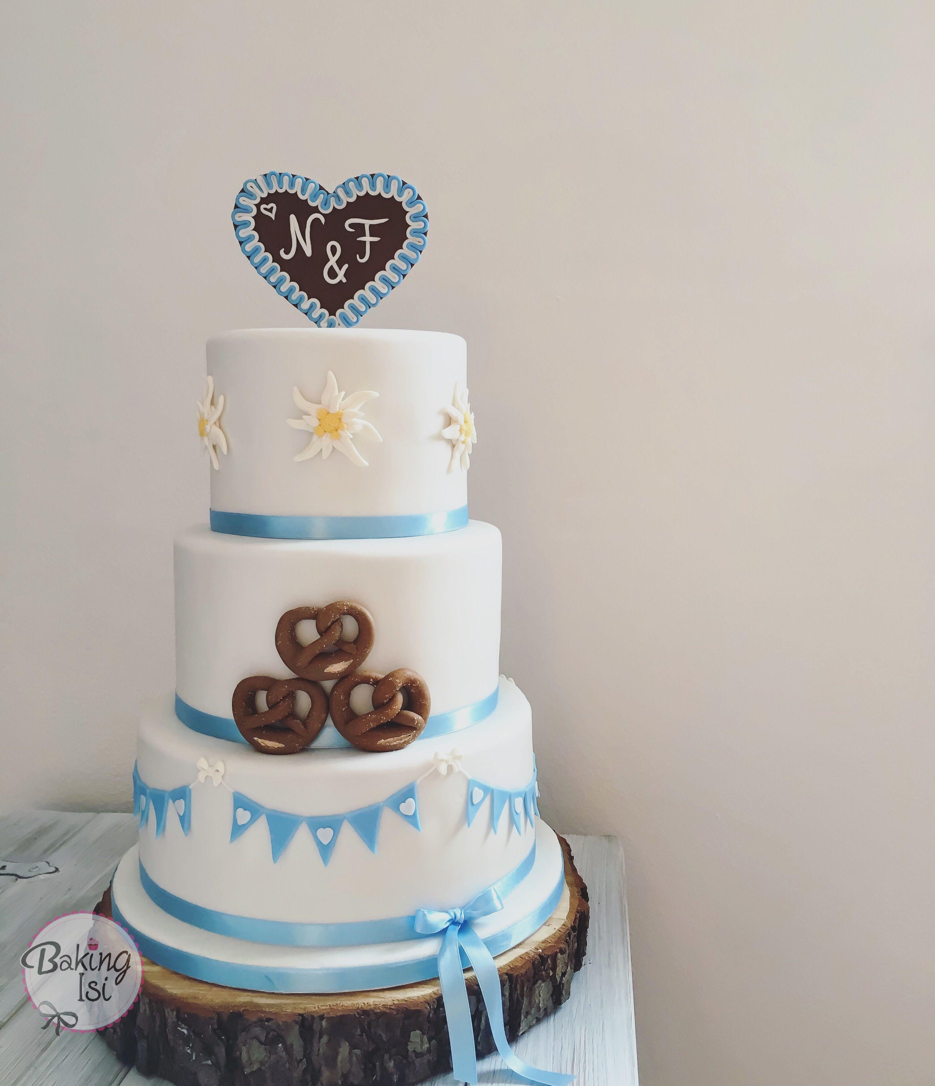 Wedding cake, bavaria, bavarian, Breze, pretzel, fondant, Oktoberfest, octoberfest, munich, Hochzeitstorte, Edelweiß, bayrisch, bayerisch