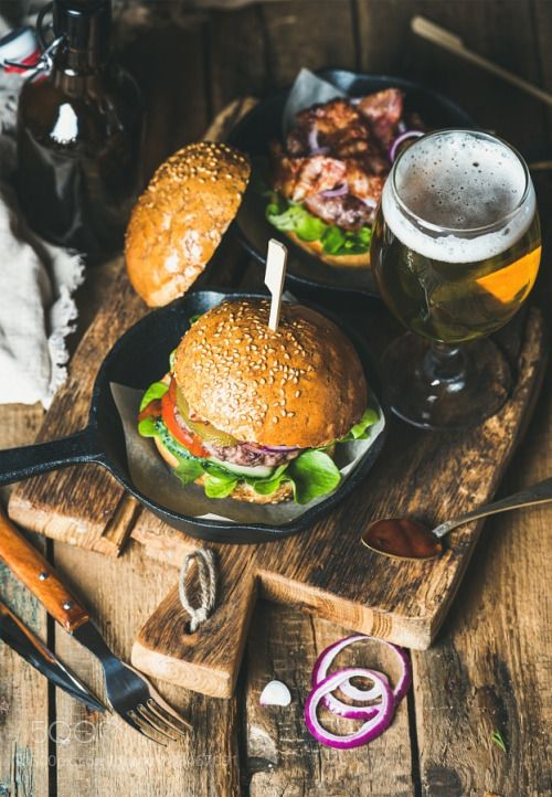 Beef burgers with crispy bacon fresh vegetables and wheat beer by 2enroute  IFTTT 500px
