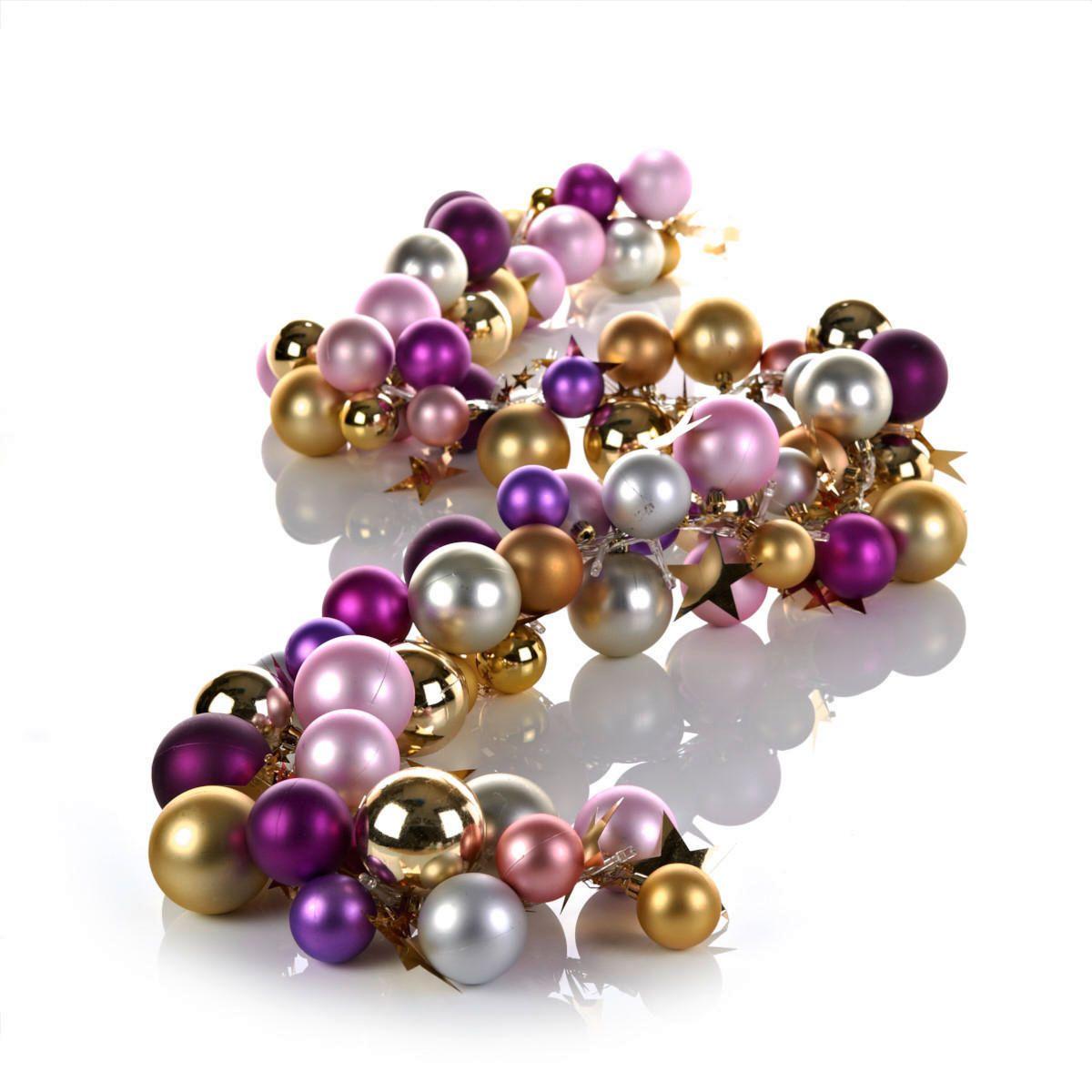Kugelgirlande in Gold, Rosa und Pink mit  warmweißen LEDs mit kleinen Sternen im Metallic-Look.  #Girlande #Weihnachtsdeko #Impressionenversand
