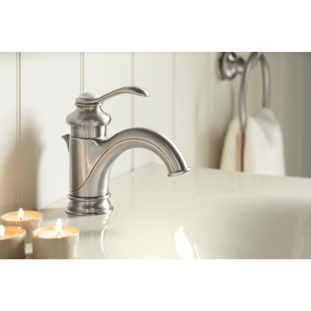 Photo of KOHLER Fairfax Single Hole Single Handle Low-Arc Bathroom Vessel Sink Faucet with Lever Handle in Vibrant Brushed Nickel-K-12182-BN – The Home Depot