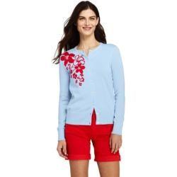 Photo of Supima Feinstrick-Cardigan mit Blumenmuster in Petite-Größe – Blau – 36-38 von Lands 'End Lands' End