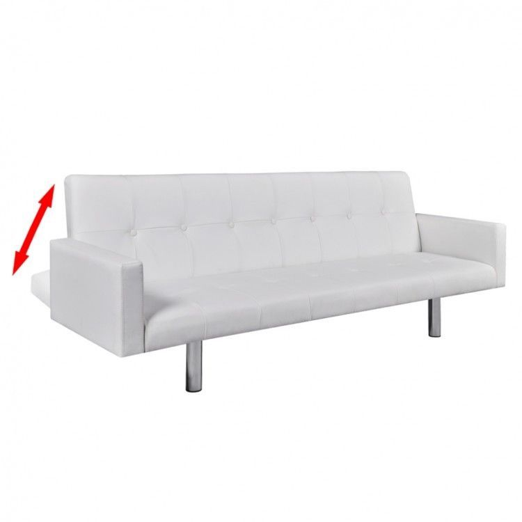 White Sofa Bed Faux Leather Cover Adjustable Sleeper Couch Reclining Furniture 209 66end Dat White Leather Sofa Bed Modern White Leather Sofa Modern Sofa Bed