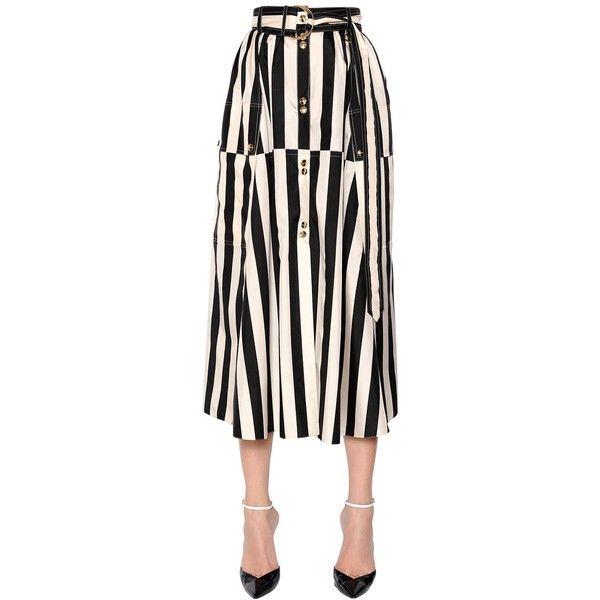 Nina Ricci Women Striped Silk Satin Midi Skirt (€1.705