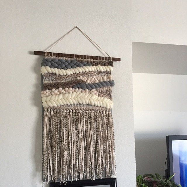 Woven Wall Hanging Tapestry Roving Weaving Boho Wall Decor Boy Nursery Art Blue Grey Cream Neutral Textured Wall Art Met Afbeeldingen