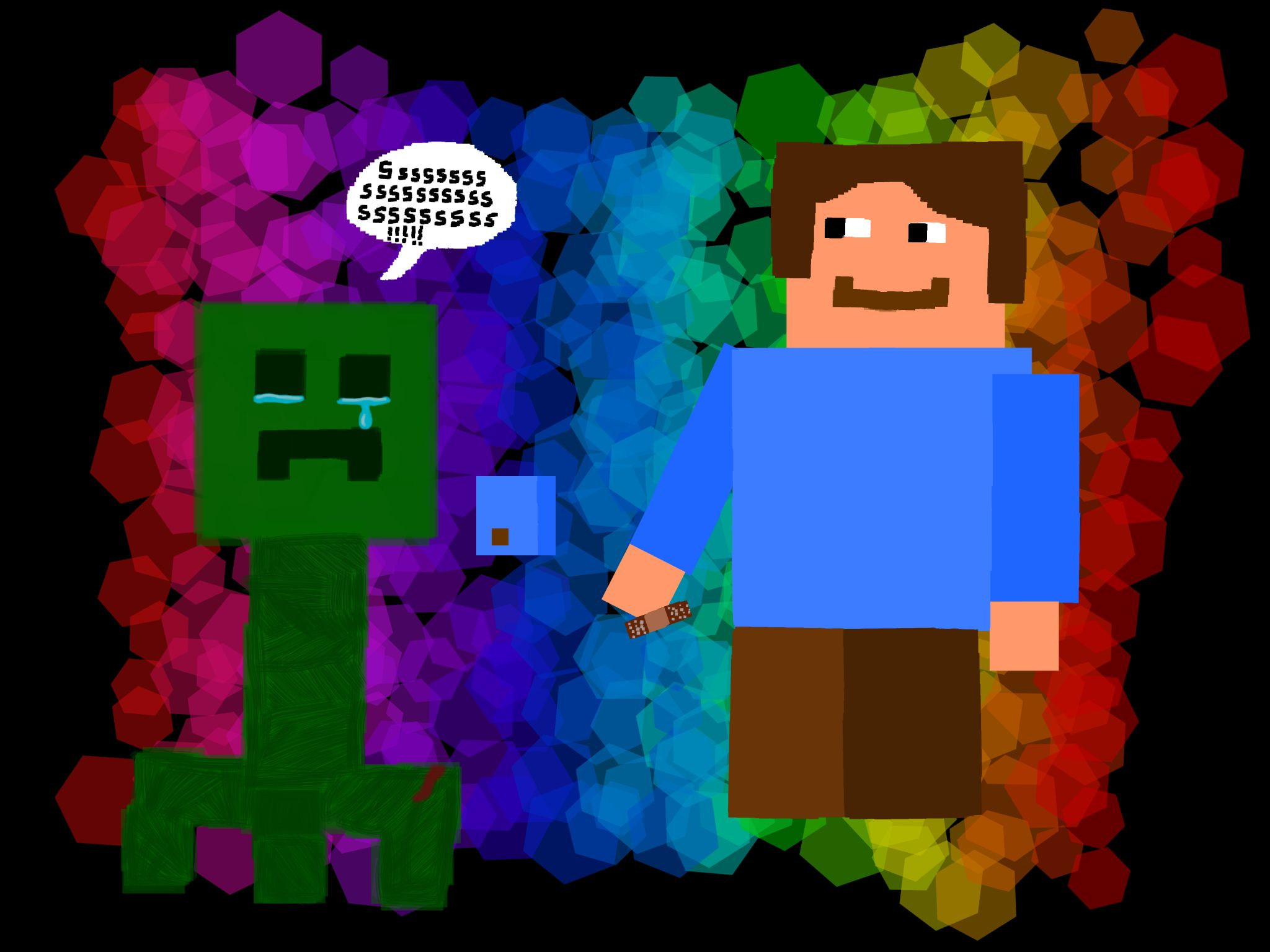 Steve and a Baby Creeper - by me