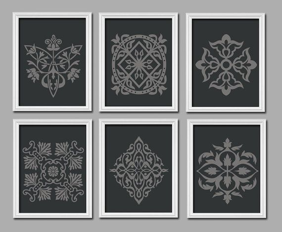 DAMASK Set of 6 Black Grey Charcoal Ornament Design Pattern Prints WALL Decor Abstract ART Bedroom Picture French Country