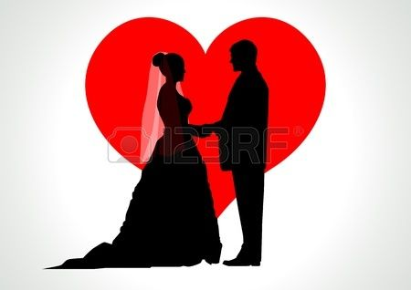 Silhouette Illustration Of A Bride And Groom With Heart Symbol As
