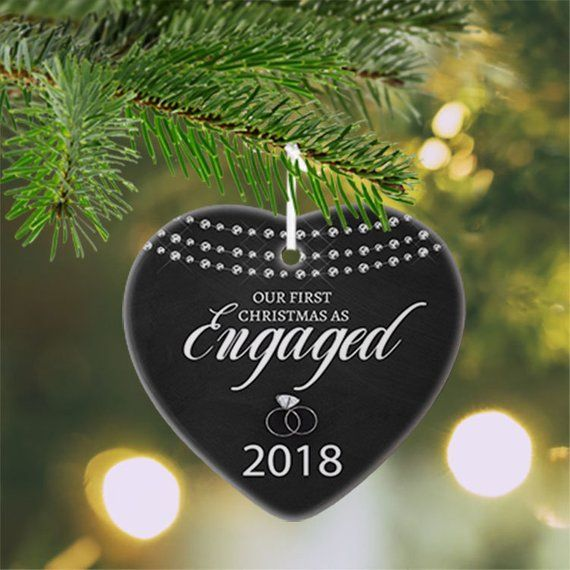 Engagement Christmas Ornament , Our First Christmas Engaged Ornament,  Engagement Ring Ornament, Heart Shaped Ornament, Couples gift - Just Engaged Ornament, Engaged Ornament Personalized, We're Engaged