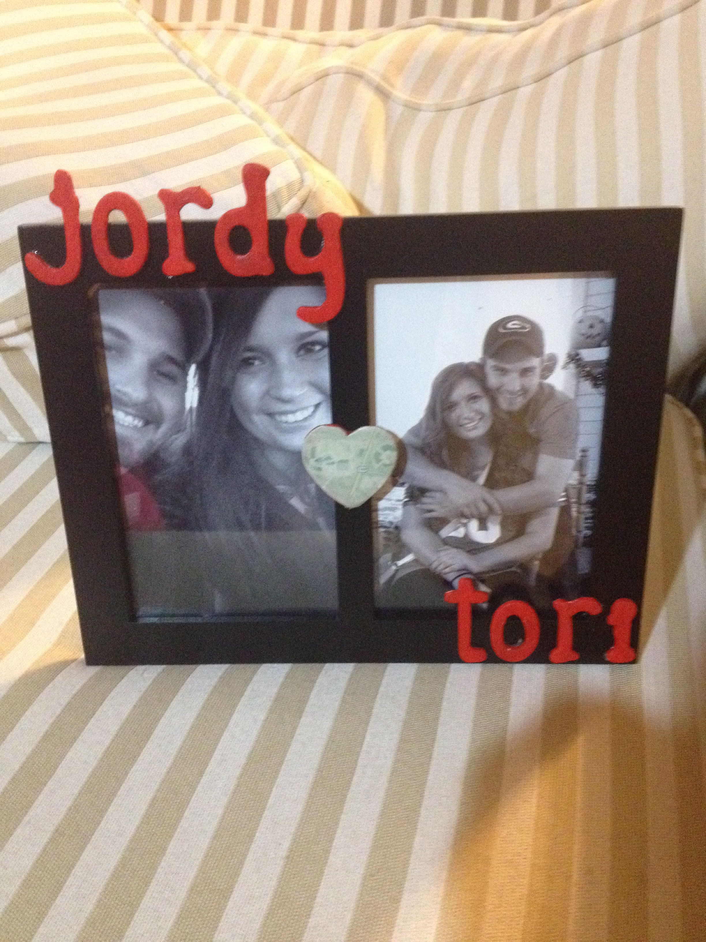 Valentines Day Picture Frame For My Boyfriend Heart In The Middle