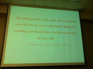 Reading is powerful. From Donalyn Miller's (Book Whisperer) presentation; photo by Paul Hankins.