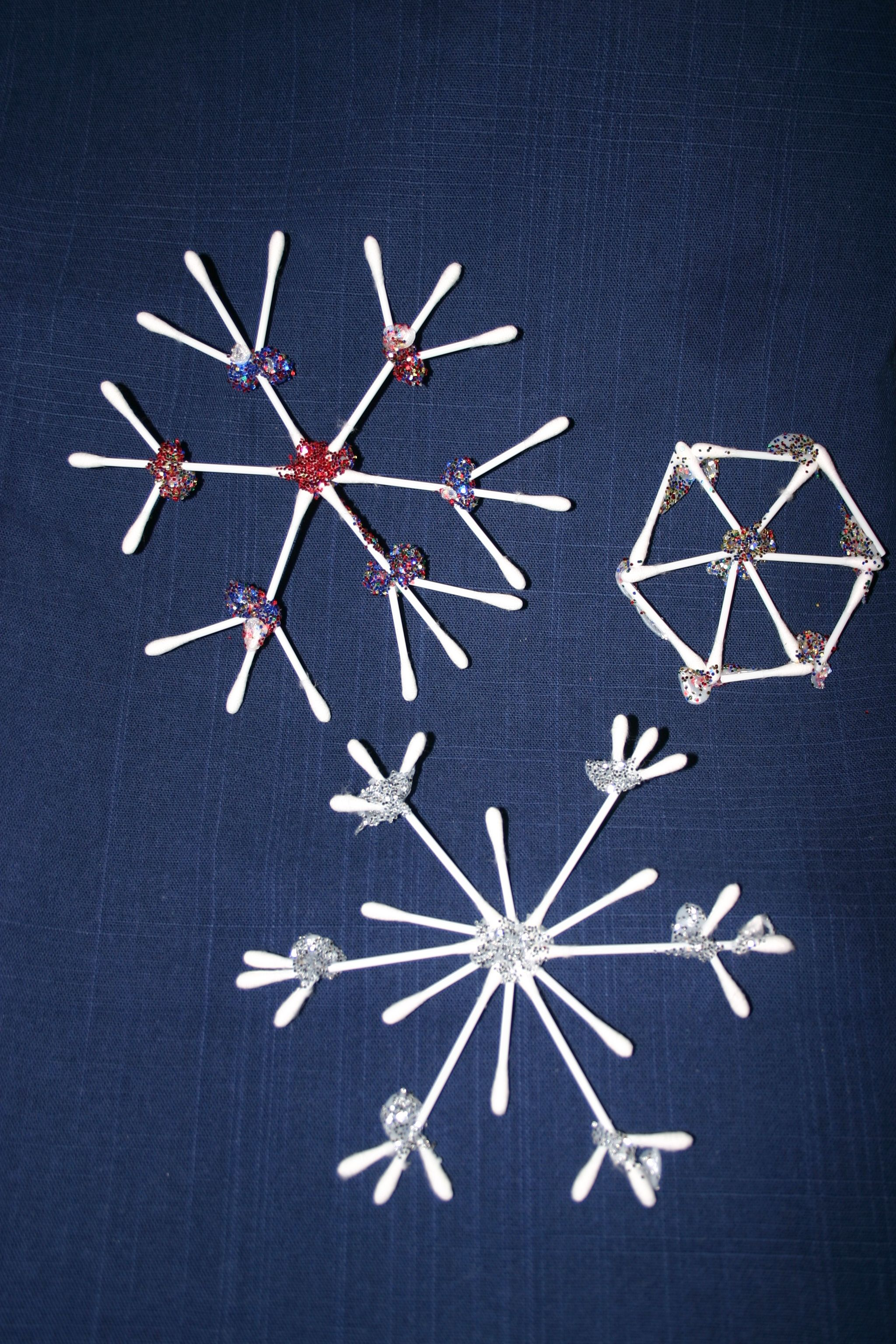 Snowflakes we hung up over Christmas Made from cotton buds