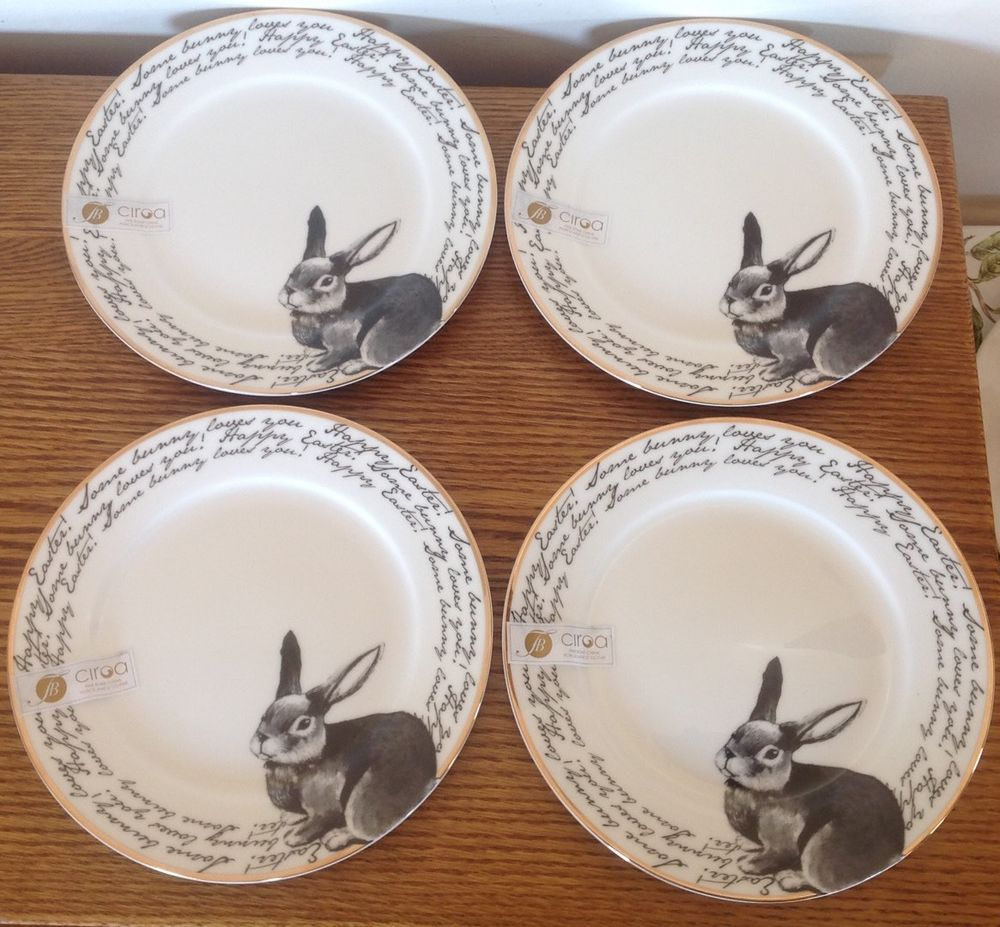 4 Ciroa Easter Bunny Plates Fine China Rabbit Love Spring Dessert Salad New Gold #Ciroa : rabbit dinnerware - pezcame.com