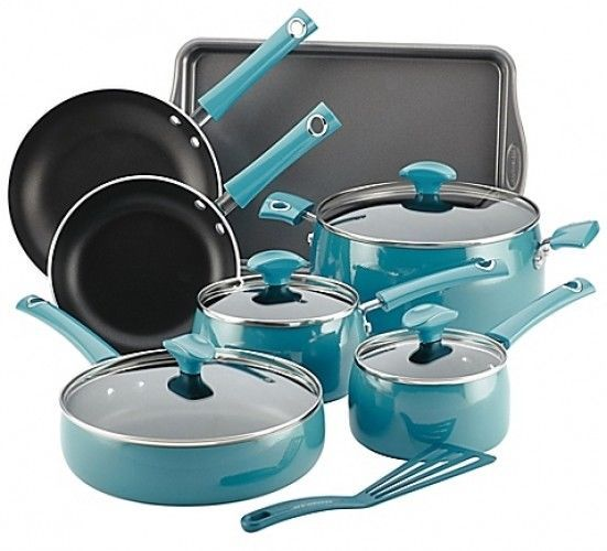 Rachael Ray Porcelain Enamel 12 Piece Cookware Set Turquoise Kitchen Dining  Cook