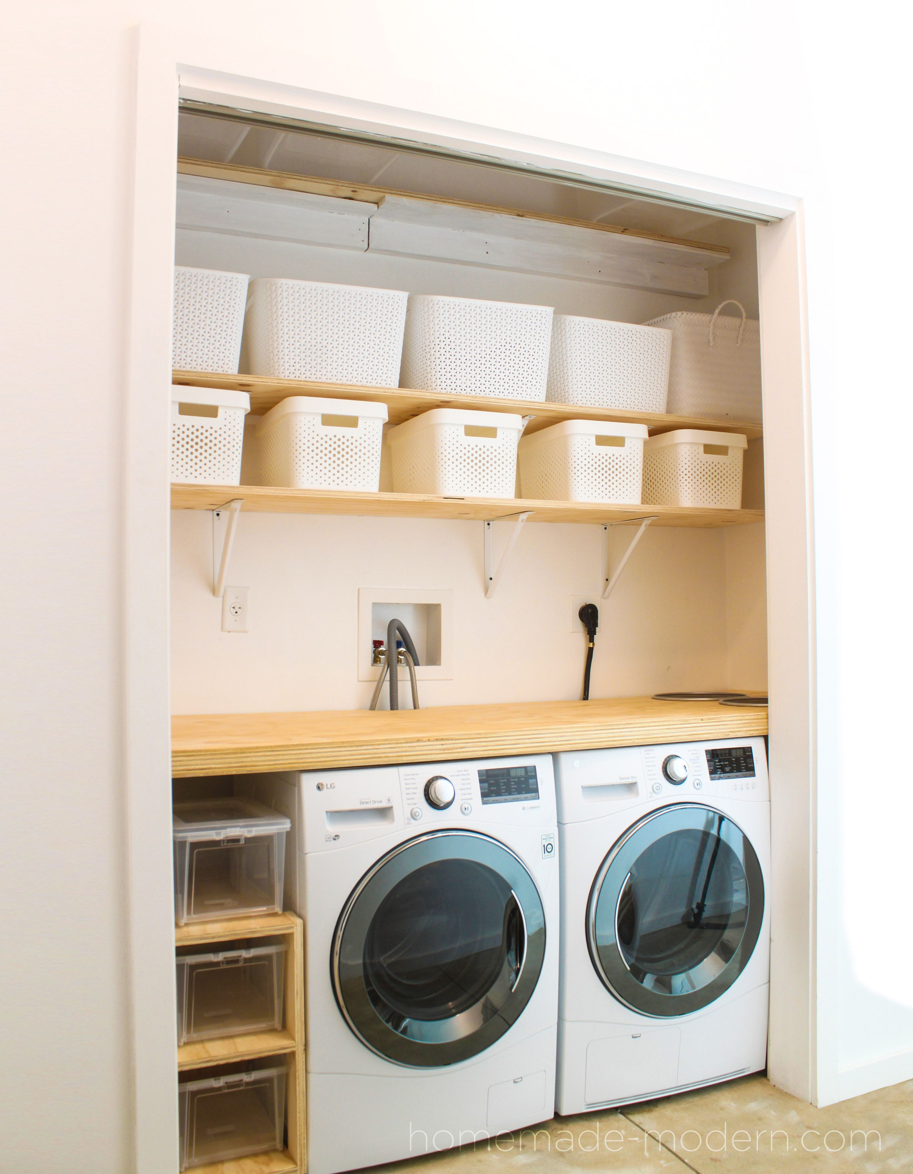 "The shelving for this DIY Laundry Room was made out ¾"" plywood from"