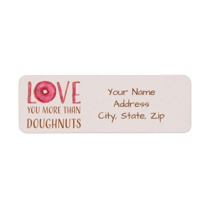 Red and Light Pink Doughnut Love Label - return address labels - Return Address Label Template