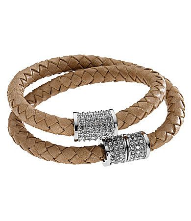 Leather Michael Kors Braided Double Wrap Bracelet