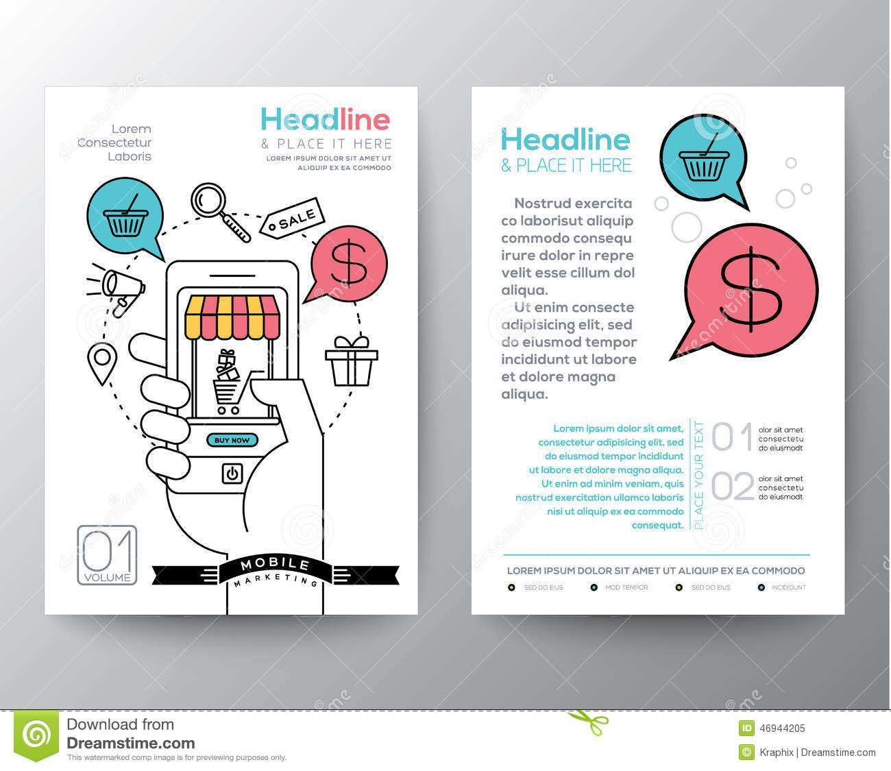 Marketing Brochure Templates Set Template Pinterest - Free marketing brochure templates
