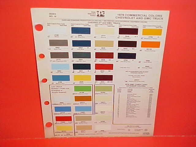 1978 Chevrolet Gmc Truck Paint Chips Color Chart 78 Paint Color