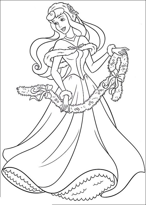 Princess Aurora Happy Christmas Disney Princess Coloring Pages