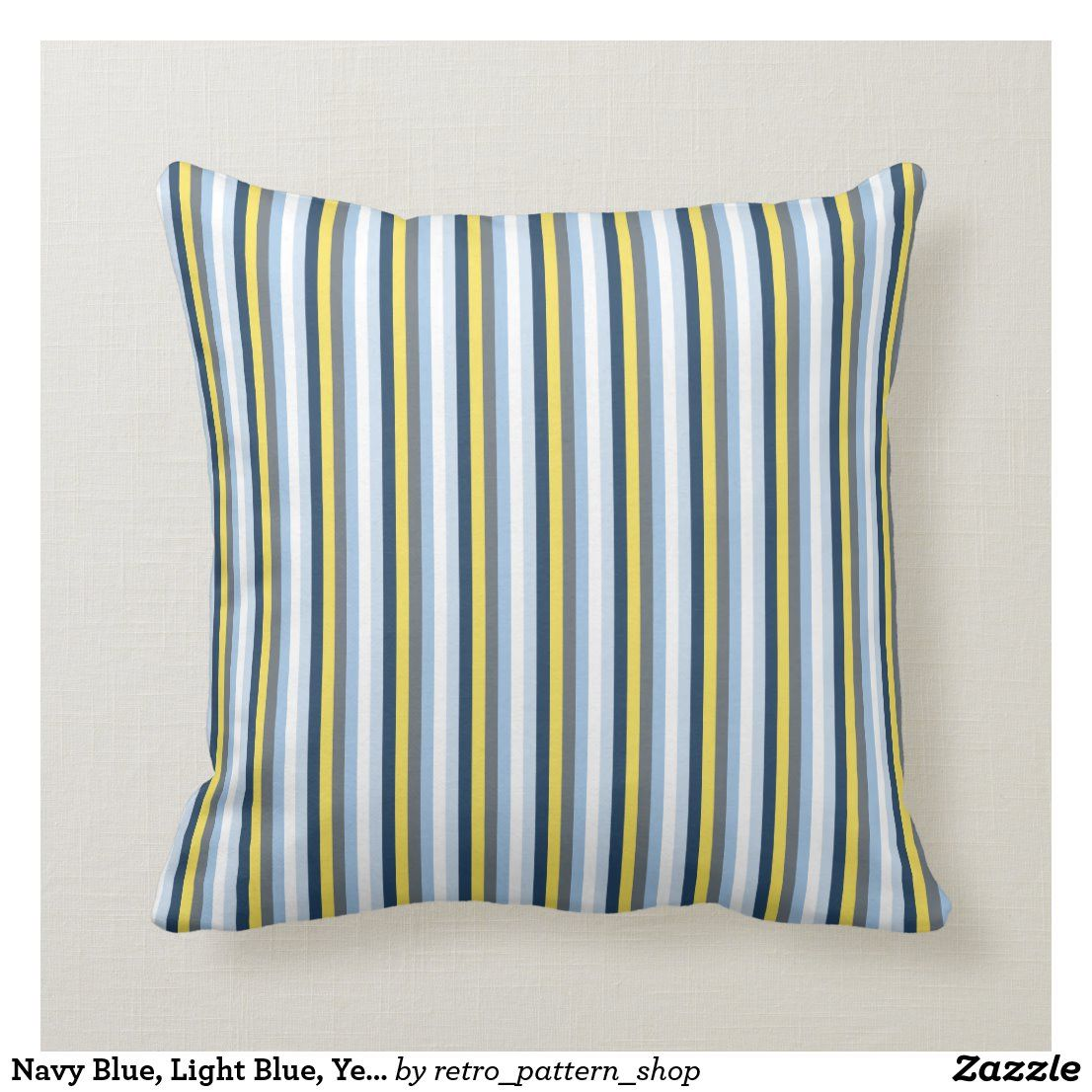 Navy Blue Light Blue Yellow And Gray Stripes Throw Pillow Zazzle Com In 2020 Stripe Throw Pillow Striped Throw Throw Pillows
