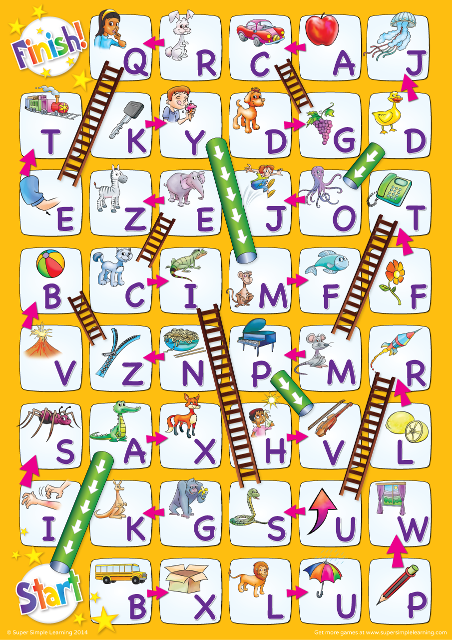 Uppercase Alphabet Chutes & Ladders Game Alphabet