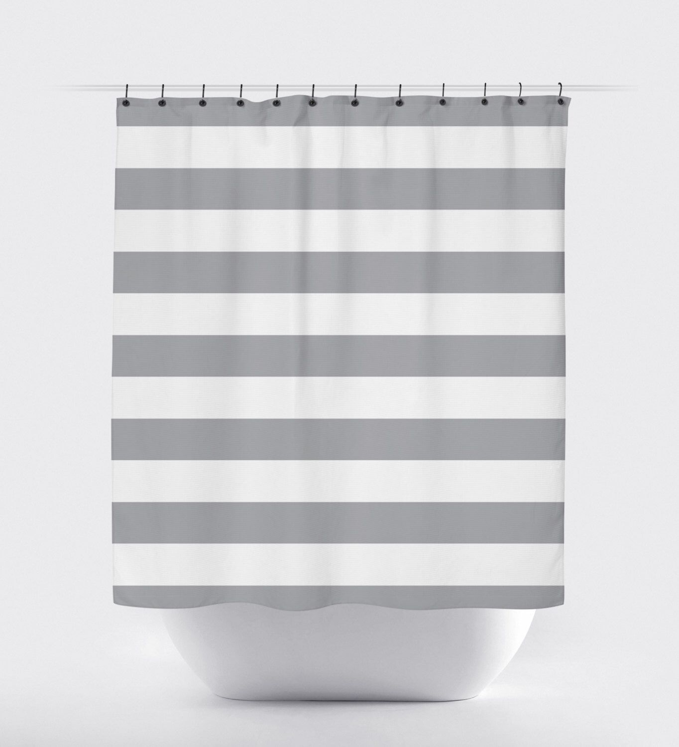 Black and white hello kitty shower curtain - Gray White Stripe Shower Curtain Modern Shower Curtain Fabric Shower Curtain Chevron Shower