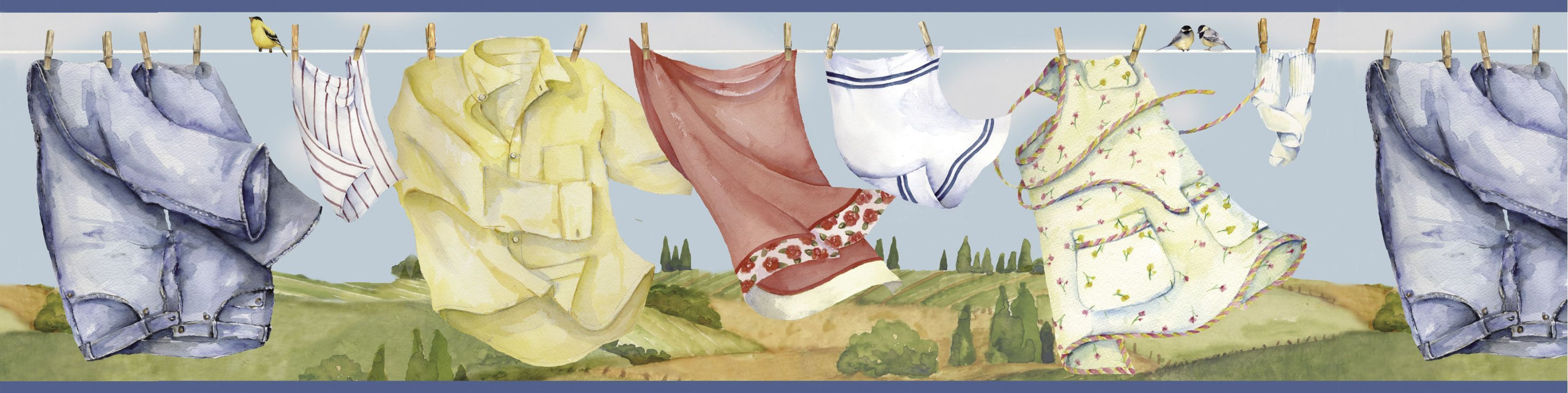 Brewster Ffr05121b Clothes Line Nursery Wallpaper Laundry Room Wallpaper