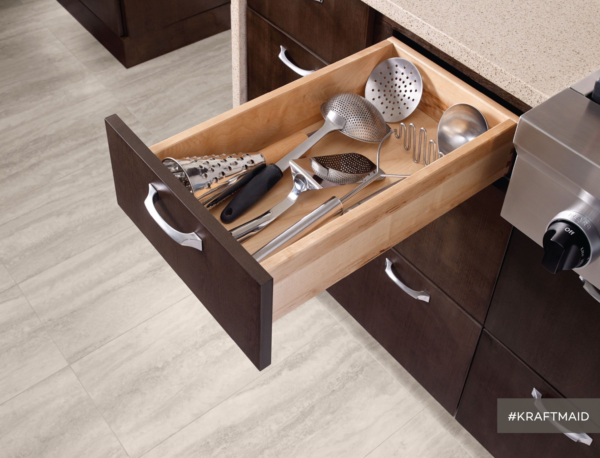 Kitchen cabinets full extension drawers - Full Extension Deep Drawers Are Especially Deep So No More Ladle Jams