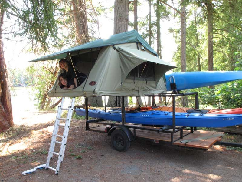 kayak trailer   Ladder leading up to the tent. Photograph by Jason Goldstein