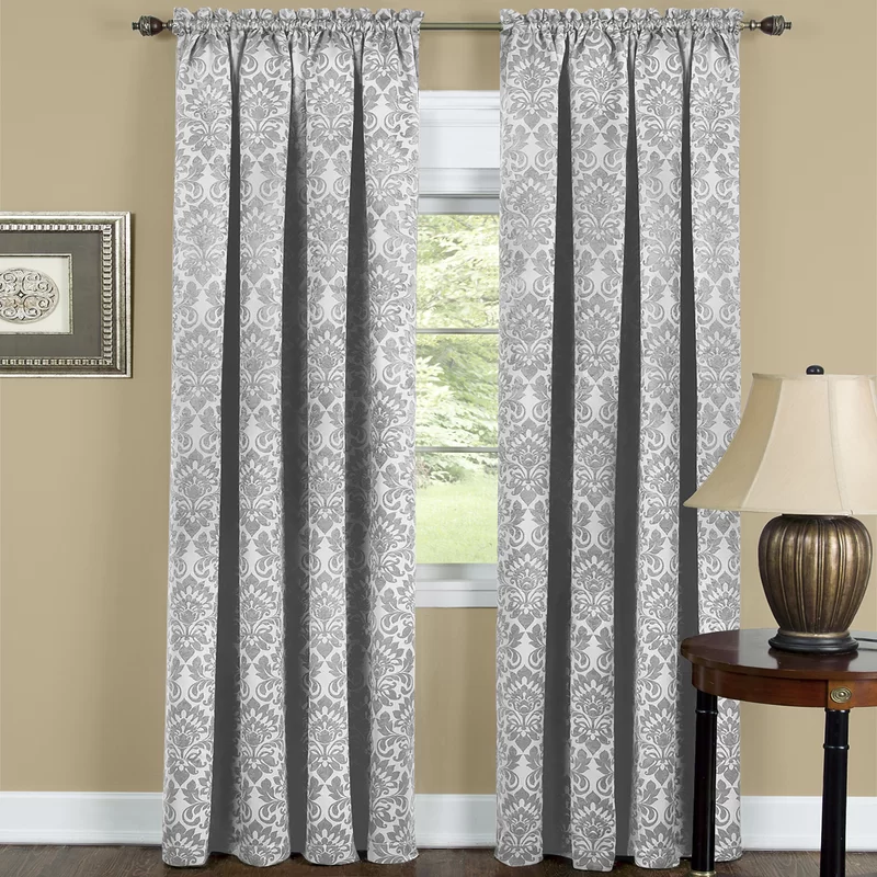 Beauvale Damask Blackout Rod Pocket Single Curtain Panel Panel