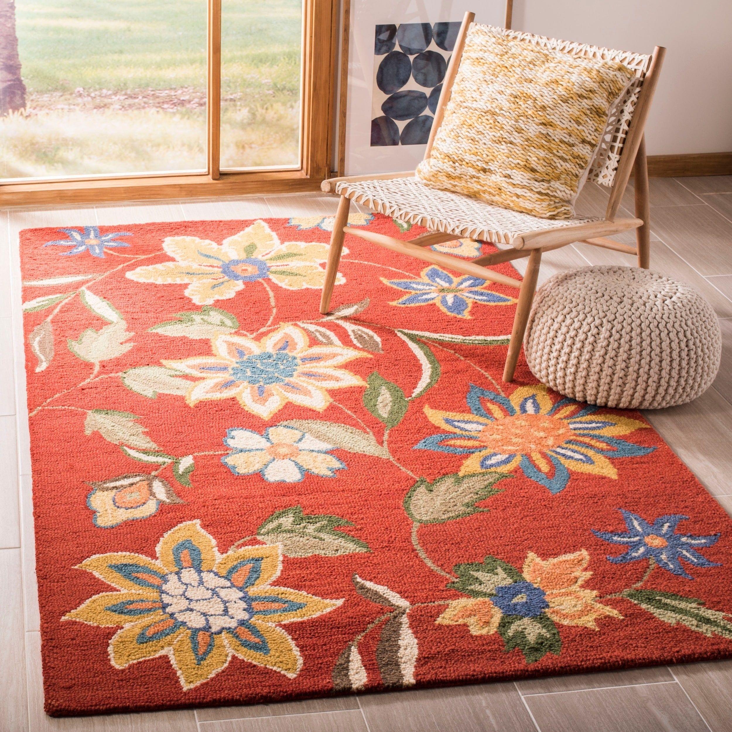 Safavieh Handmade Blossom Rust Wool Area Rug 5 X 8