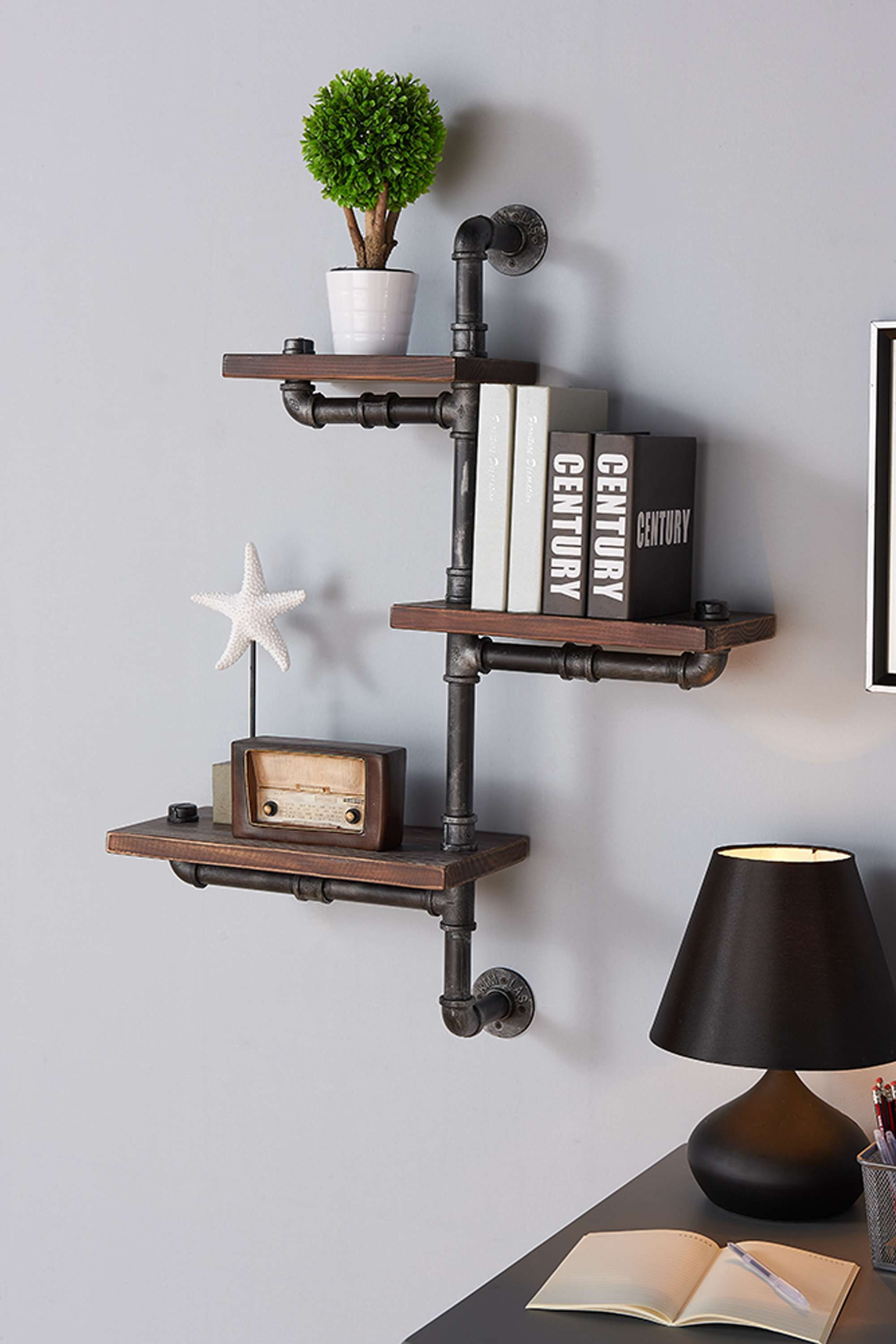 Orton Gray Walnut Finish 30 Industrial Pine Wood Floating Wall Shelf Floating Wall Shelves Brown Living Room Decor Brown Living Room