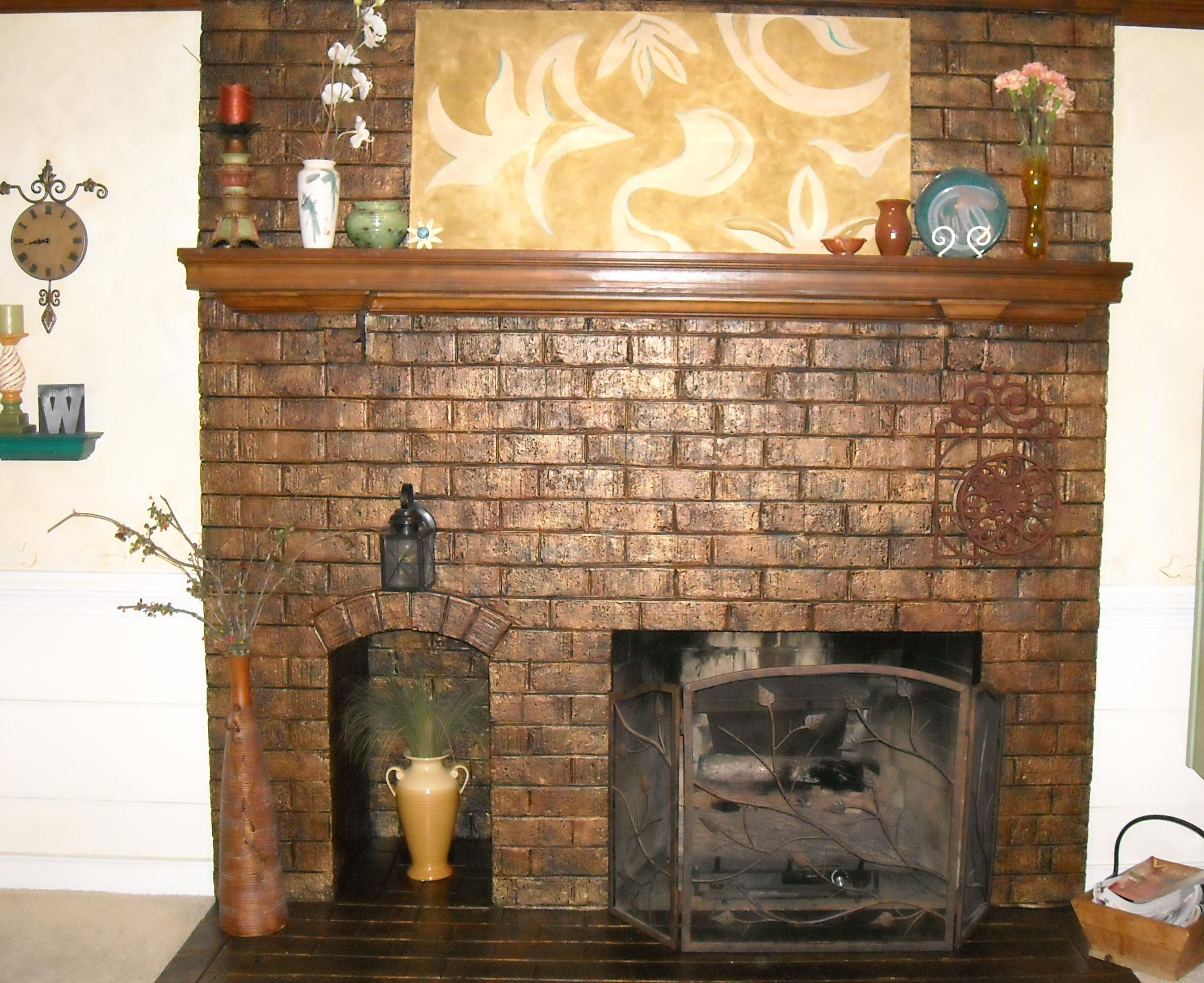 brick fireplace architectural treatments living room ideas