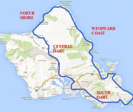 Drive Around Oahu A Great American Roadtrip Hawaii Pinterest - Best maps for us road trips