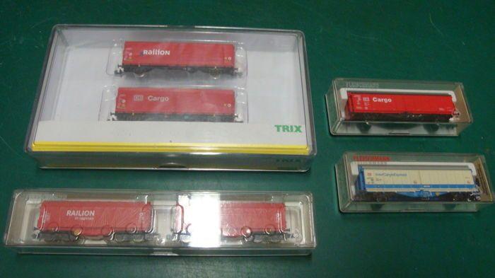 Minitrix/Fleischmann N - 15293/837910k/8370k/8372k - 6 Railion en Cargo wagons van de DB  Minitrix/Fleischmann N - 15293/837910k/8370k/8372k - 6 Railion en Cargo wagons van de DB Trix.Set 15293 Railion en Cargo DBFleischmann.Set 837910k 2 dubbelassige zeilwand wagons Railion DB8370k InterCargoExpress DB8372k Cargo DBAlle wagons nieuwstaat in ovp.Foto's maken deel uit van de beschrijving.Wordt aangetekend verzonden met PostNL  EUR 36.00  Meer informatie