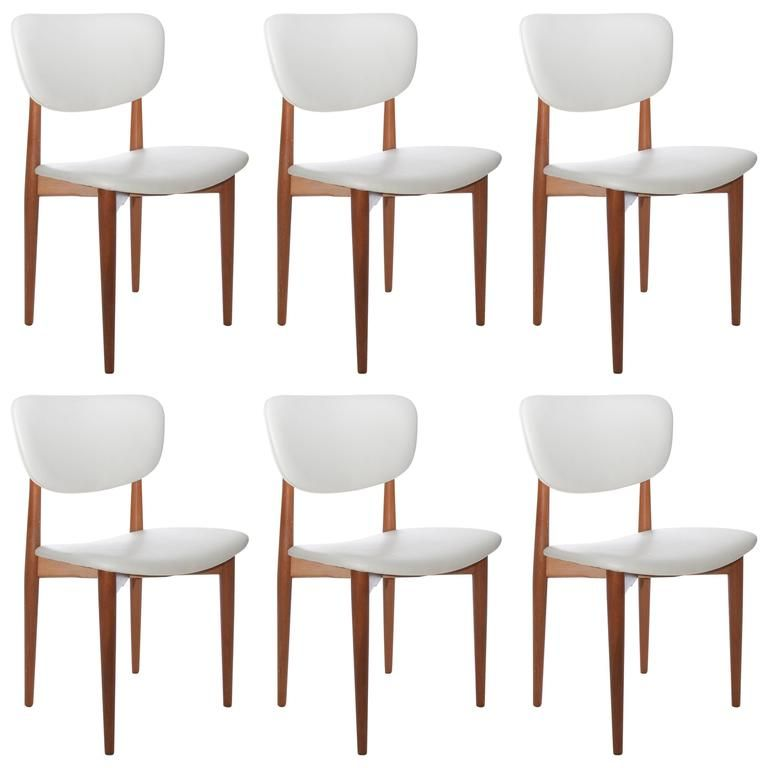 Set Of Six Danish Modern Dining Chairs Restored In White Vinyl Inspiration White Dining Room Chairs Modern Review