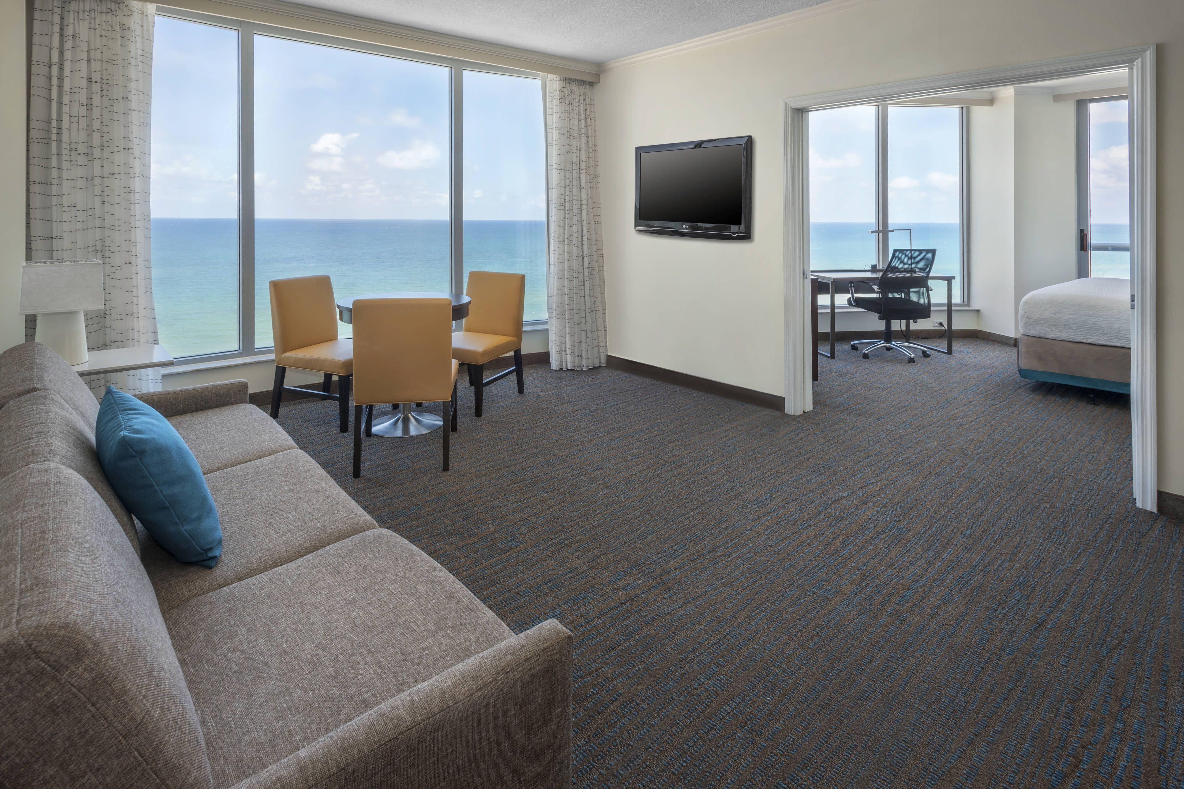 Residence Inn Fort Lauderdale Pompano Beach Oceanfront Two Bedroom Oceanfront Suite Living Room Memorable Holidays Florida Hotels Oceanfront Pompano Beach