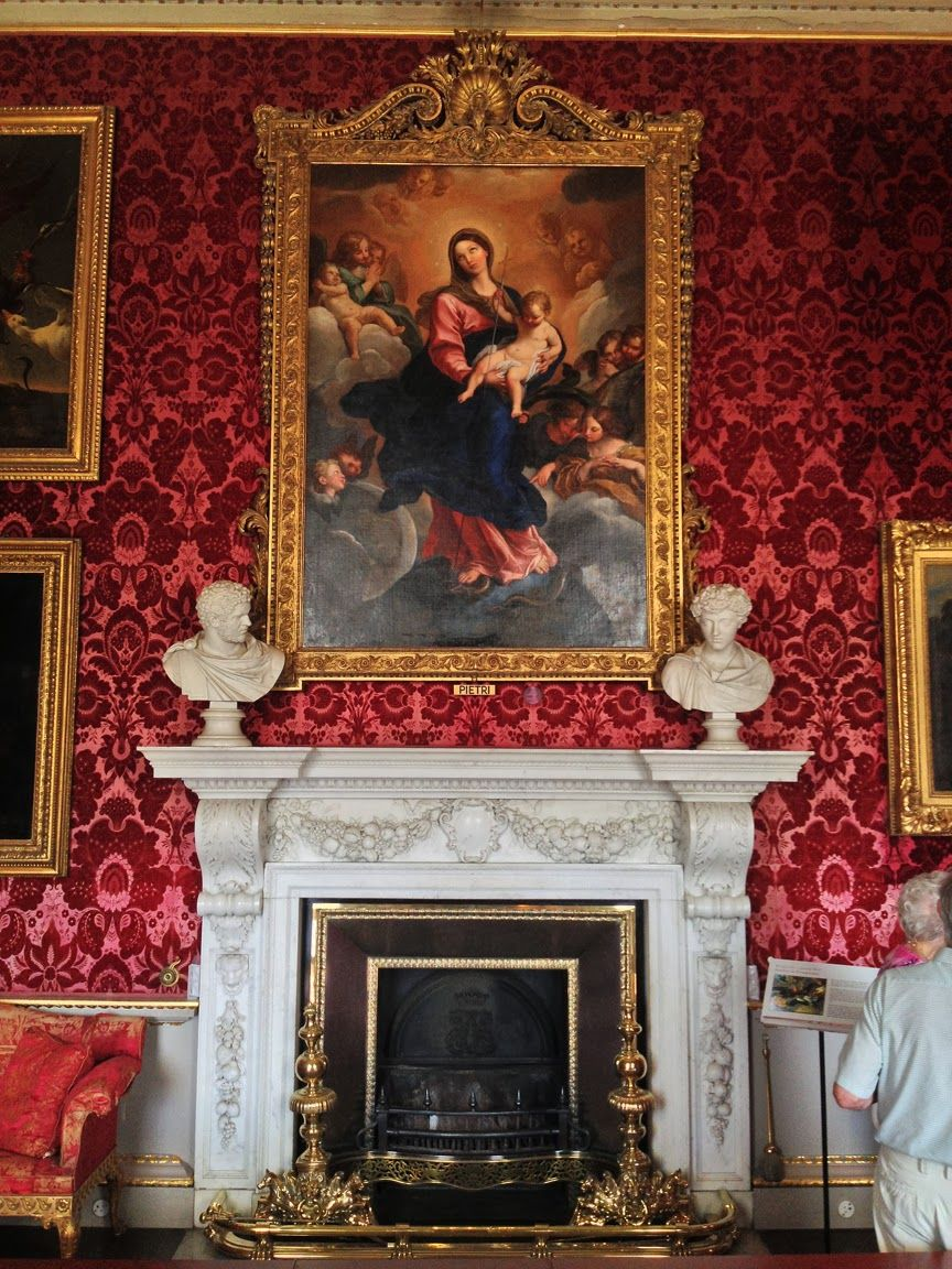 Drawing Room Houghton Hall- British Estate. The painting is Pietro da Pietri's Madonna in gloria