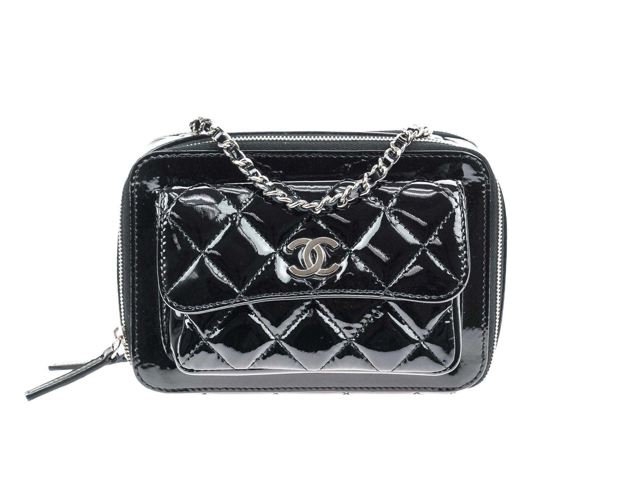 0665ddab1934 Chanel Black Quilted Patent Leather Mini Camera Bag - This Chanel Black  Quilted Patent Leather Mini