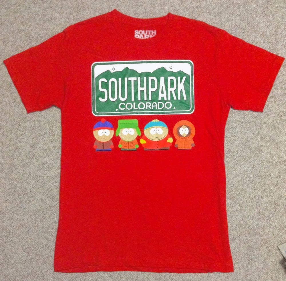 New South Park License Plate Colorado T Shirt Red Kenny Eric Stan Kyle See Size Graphic Tees Mens Tshirts T Shirt