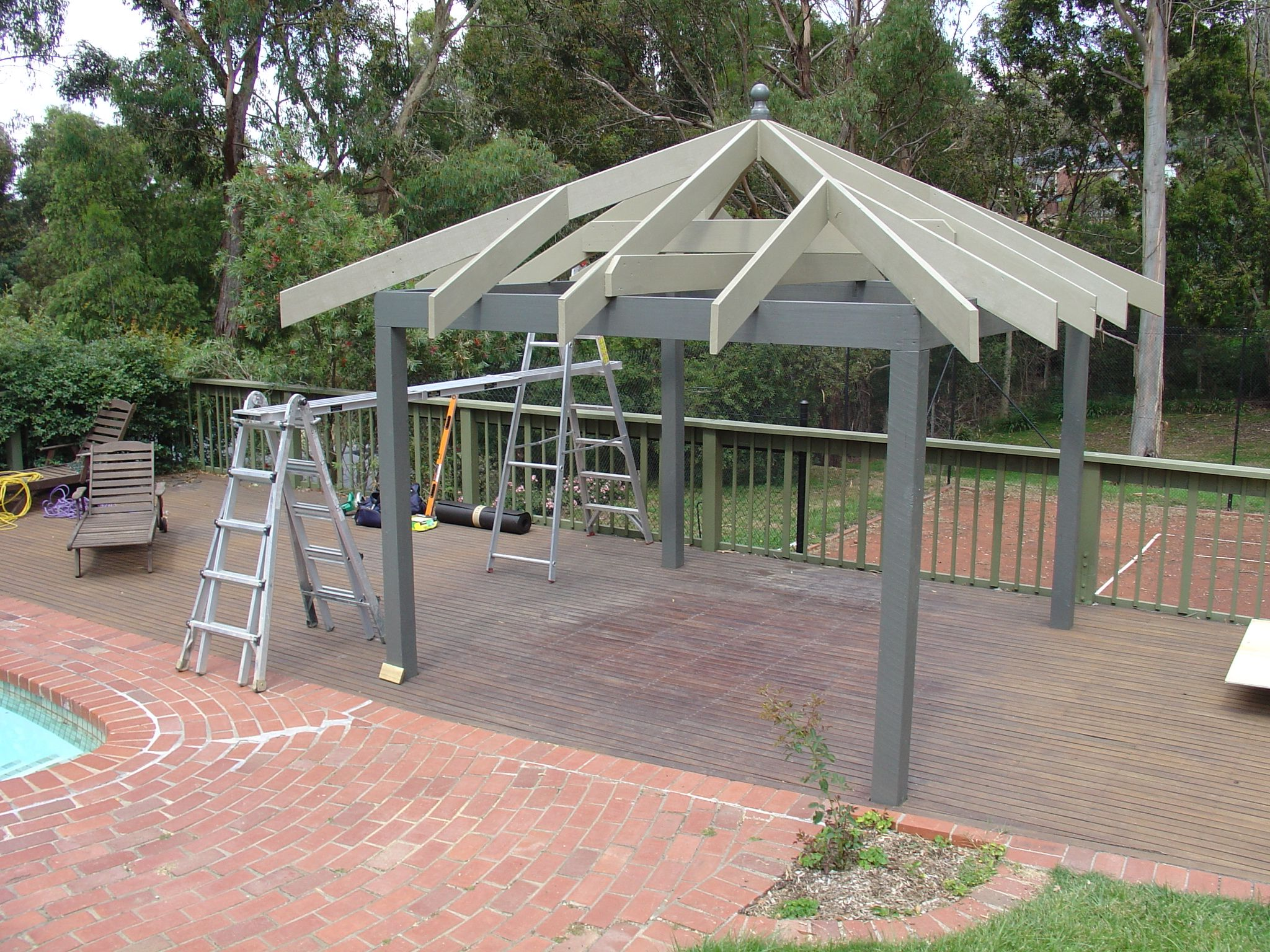 Double roof metal gazebo sg014 metal gazebos pinterest for Metal frame pergola designs