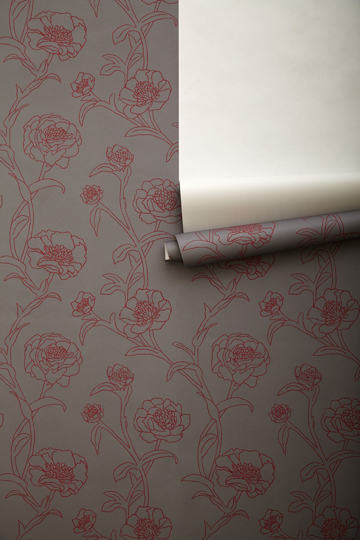 Surestrip Backing Allows For Paste Free Application And Easy Removal Digitally Printed Paper Rol Peony Wallpaper Eclectic Wallpaper Grey Floral Wallpaper