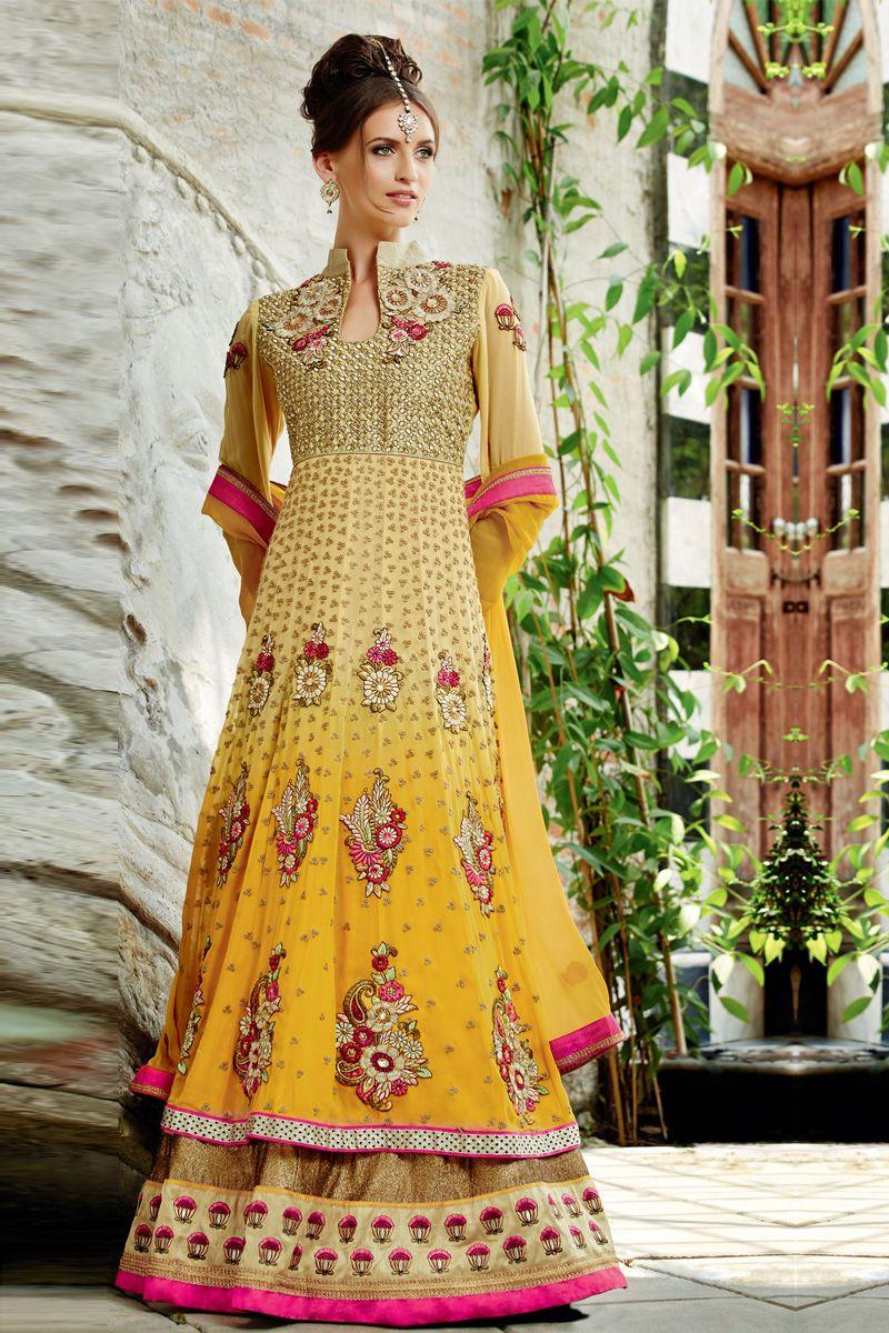 Shaded yellow designer long party wear salwar kameez