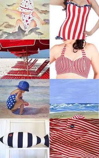"""Red & Blue Beach"" Treasury Featuring Beach Cottage Life | René Marie Photography on Etsy. via TreasuryPin.com"