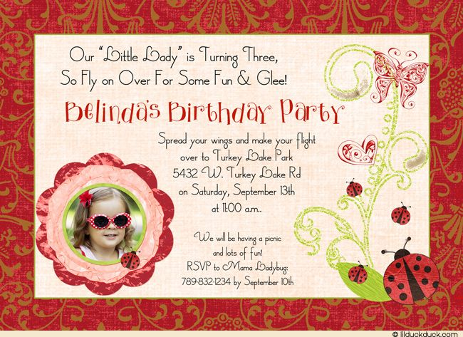 3 Year Olds Cute 3rd Birthday Invite Wording Invitation Ladybugs