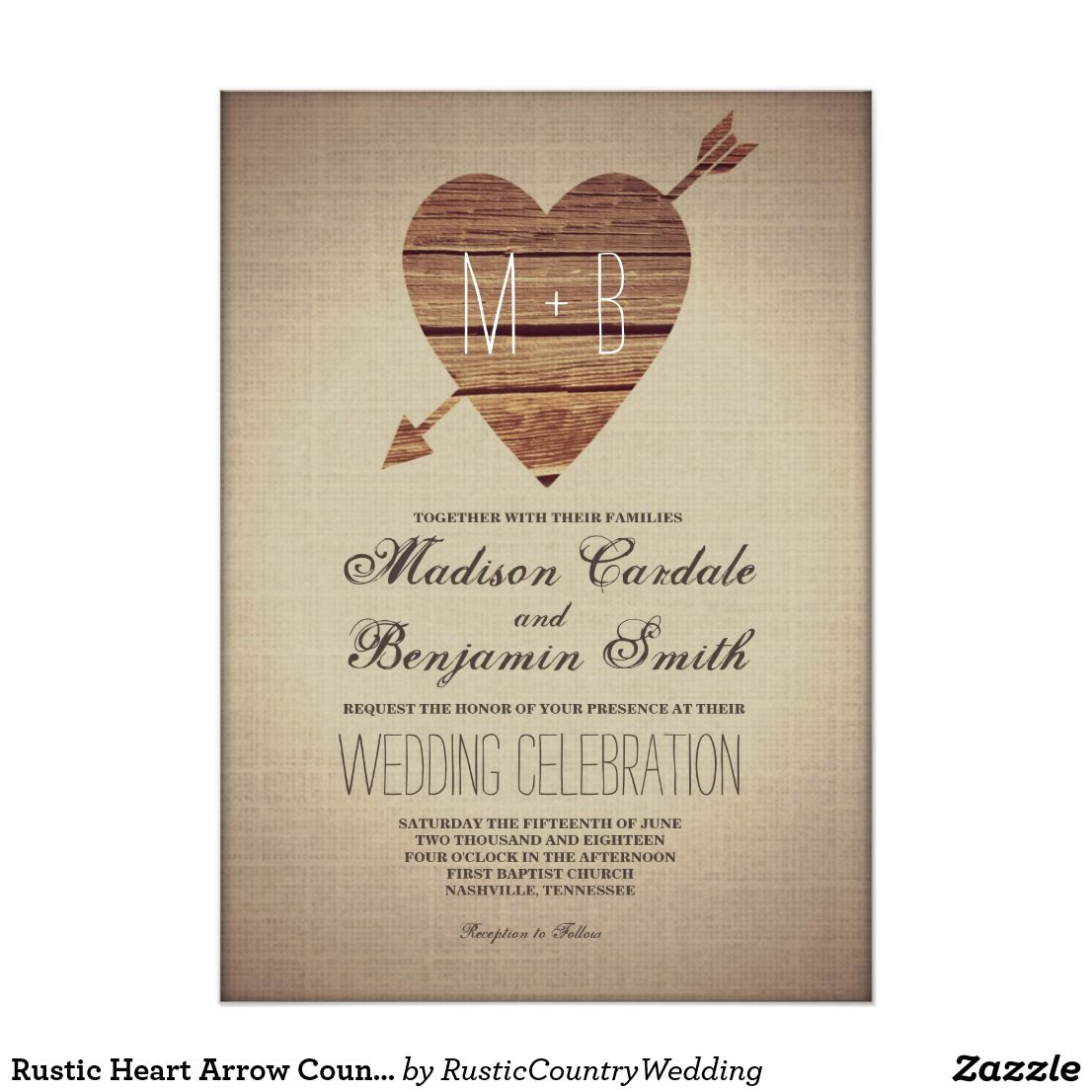 Rustic Heart Arrow Country Wedding Invitations | Country Wedding ...