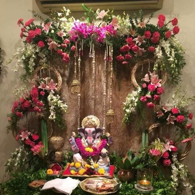 Untitled Flower Decoration For Ganpati