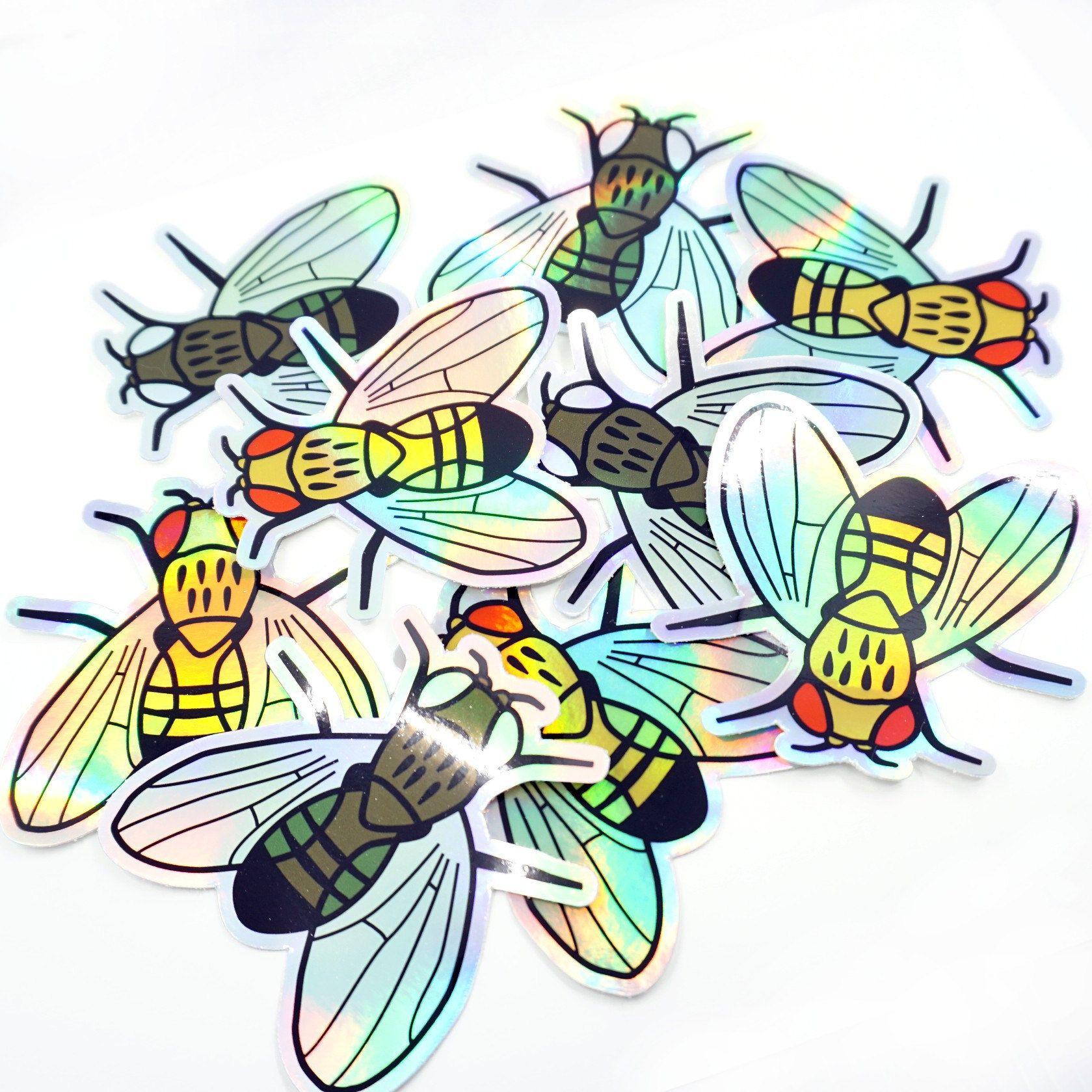 Fruit Fly Holo Stickers Drosophila Melanogaster Set Of 2