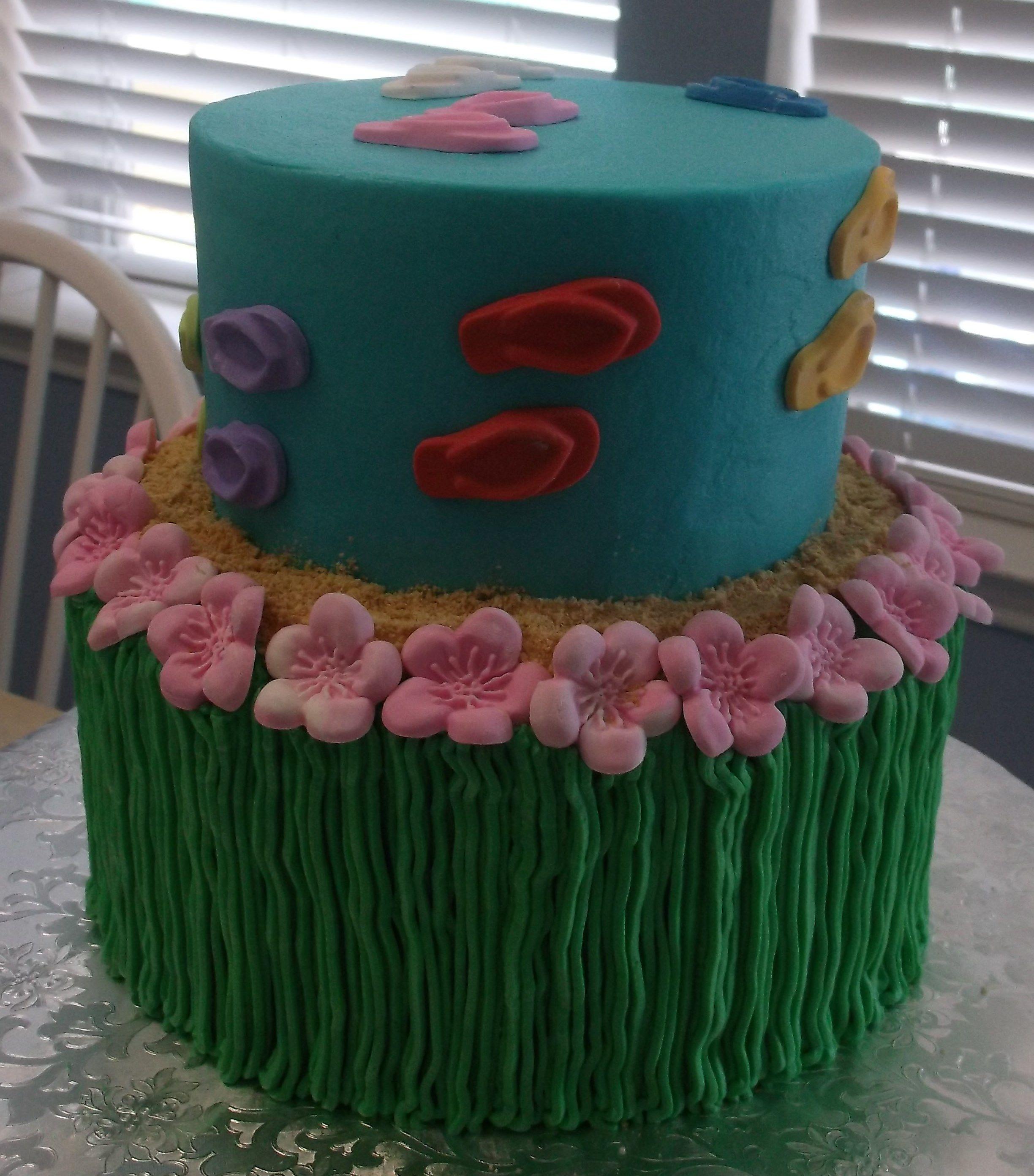 Hula flip flop cake