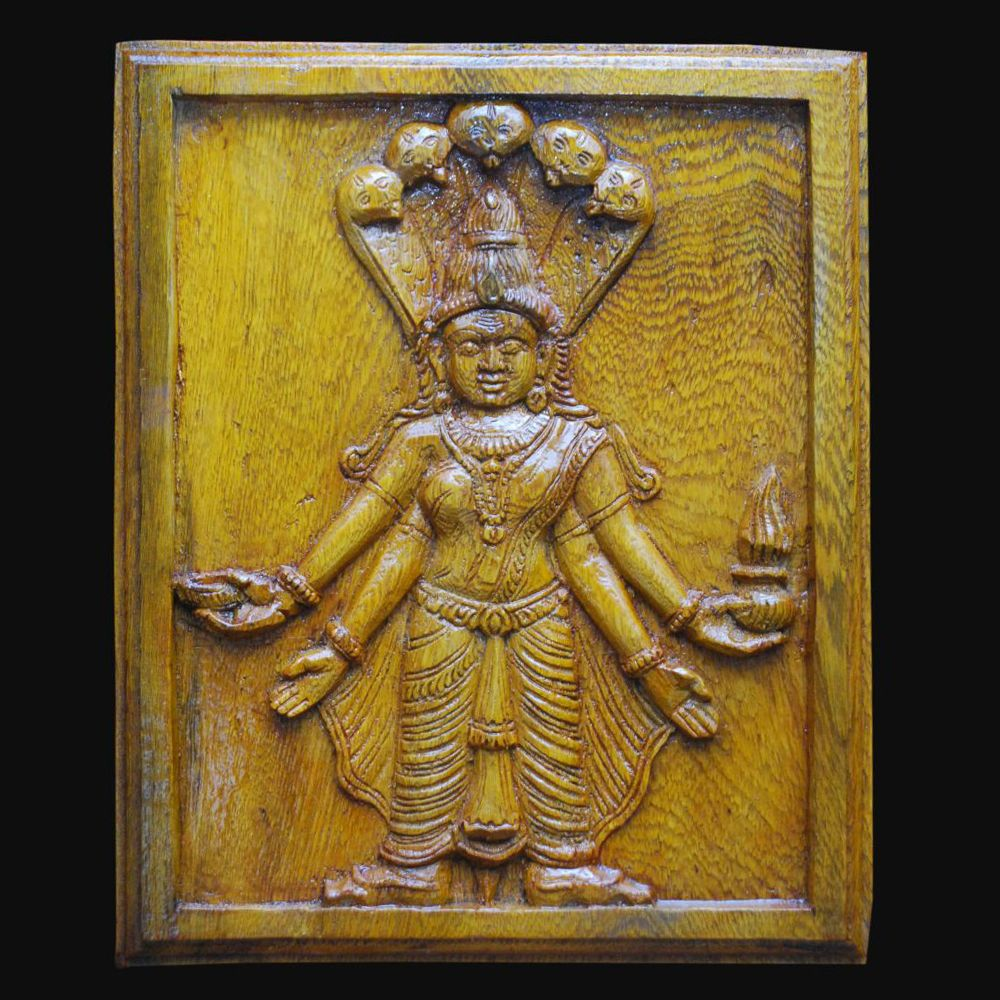 WALL PANEL OF ANDICHI AMMAN STANDS SENTINEL Hand carved from Athi ...